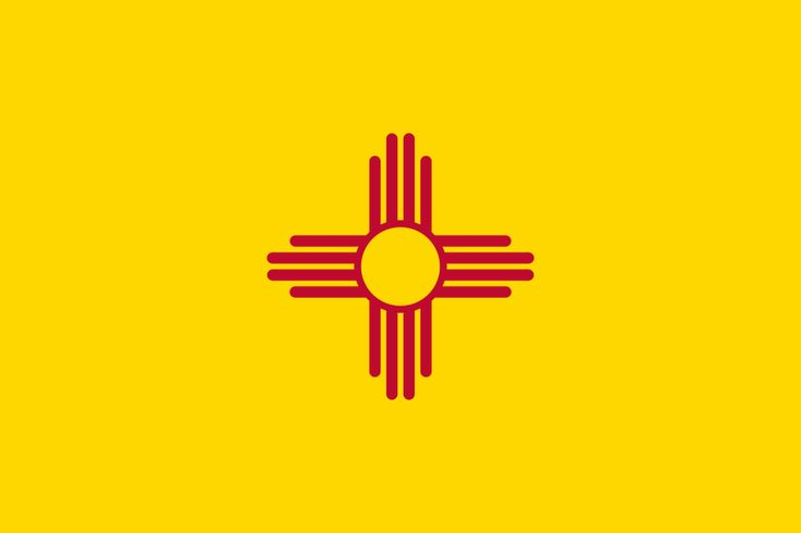 The yellow field and red symbol colors are the colors of Spain. On New Mexico's flag we see a red sun with rays streching out from it. There are four groups of rays with four rays in each group. This is an ancient sun symbol of a Native American people called the Zia. The Zia believed that the giver of all good gave them gifts in groups of four. These gifts are:  The four directions,The four seasons, the four times of day and stages of life.
