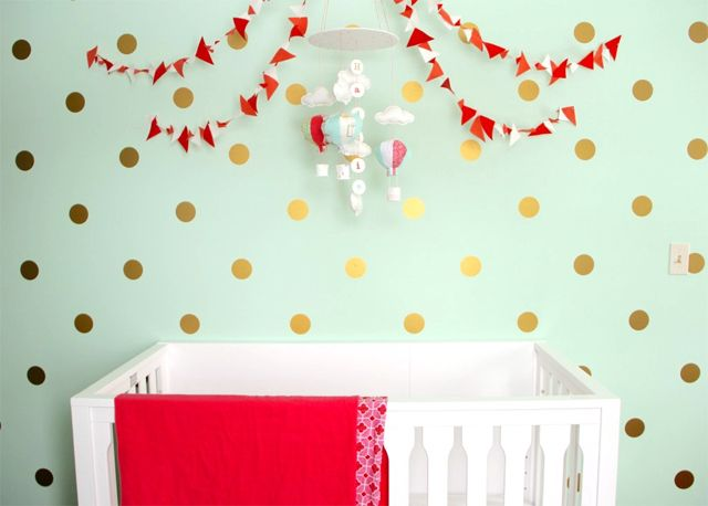 Mint, Coral and Gold Nursery - Project Nursery: Coral And Gold, Dots Decals, Mint Wall, Gold Polka Dots, Polka Dots Wall, Baby Girls, Gold Accent, Gold Nurseries, Gold Dots