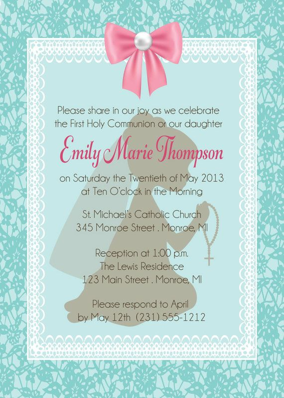 Lace Frame First Communion Invitation by by FabPartyPrints on Etsy