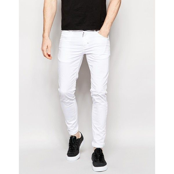 Antony Morato White Super Skinny Jeans (123540 IQD) ❤ liked on Polyvore featuring men's fashion, men's clothing, men's jeans, white, mens white jeans, mens white skinny jeans, mens skinny fit jeans, tall mens jeans and mens dark wash jeans