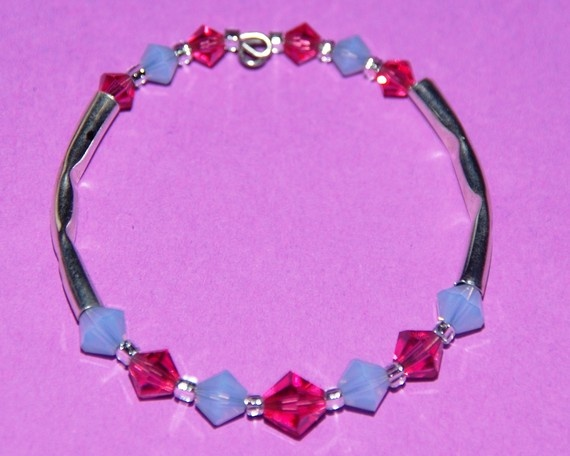Perfect for toddlers and young Children! High quality yet also affordable...  Children's size Swarovski Crystal Bracelet pink and blue by Tazzmck