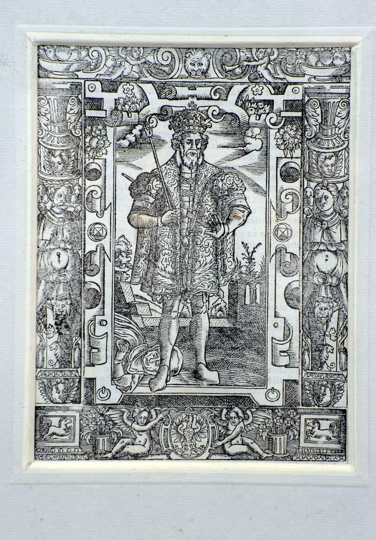 """Przemysł II, król Polski - drzeworyt z książki """"Kronika Polska Marcina Bielskiego nowa, przez Joachima Bielskiego, syna jego wydana""""; drukarnia Jakuba Siebeneychera, Kraków 1597 r."""