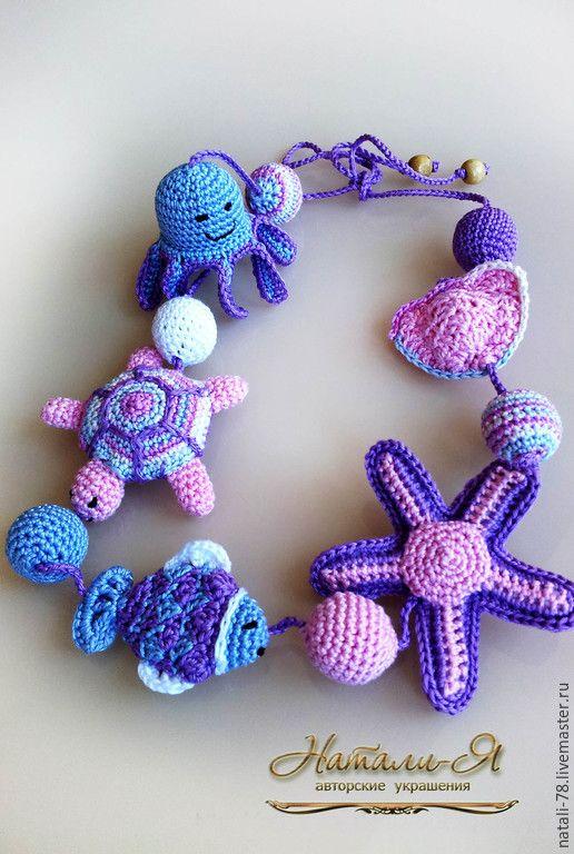 """Купить Слингобусы """"Морские обитатели"""" (1 вариант) - разноцветный, розовый, сиреневый, лавандовый, голубой, море"""
