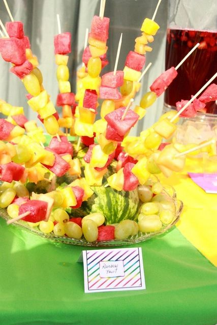 Delicious rainbow fruit skewers at a birthday party! See more party ideas at CatchMyParty.com!