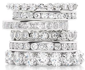 would love stacked bands like this for special anniversaries, babies, etc. (to wear on my right hand) and add to over the years. not all diamonds either...some just plain.