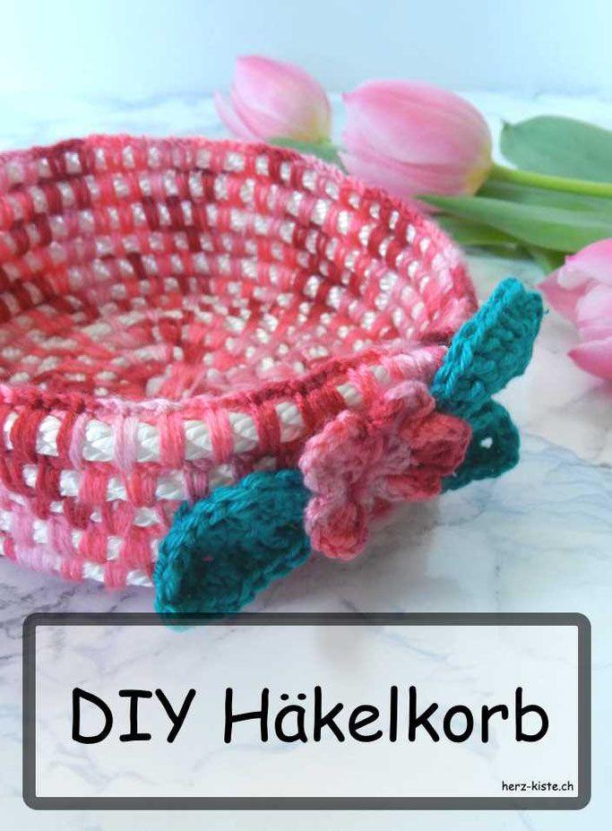 DIY Tutorial für einen Häkelkorb mit Wolle und Seil - eine einfache Dekorationsidee zum Aufbewahren und Dekorieren: nicht nur zu Ostern