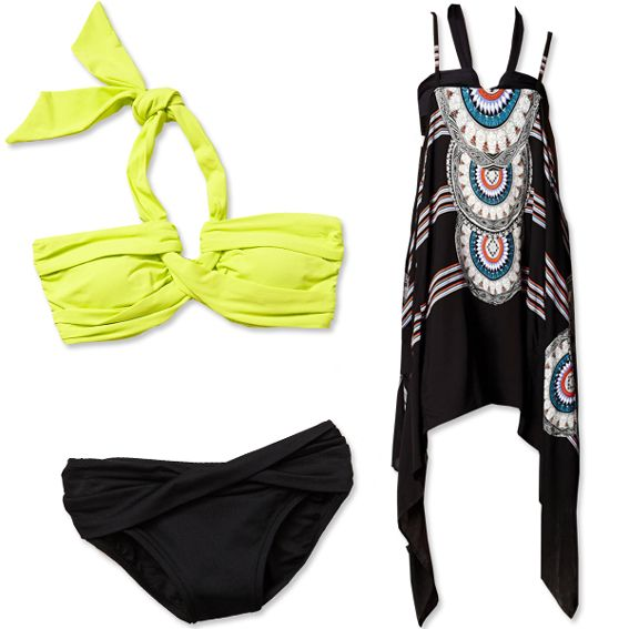 Draw the eye upwards with a bright neon bikini top and darker hipsters (Seafolly, $98 for top and $78 for bottom; anthropologie.com). For your cover-up, pick a breezy silhouette that delivers both comfort and coverage (Red Carter, $119; anthropologie.com).