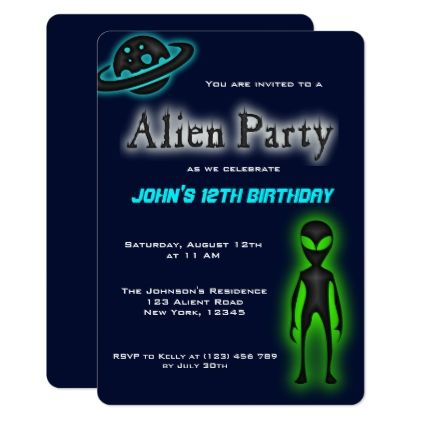 #Super Cool Alien Birthday Party Invite - #giftidea #gift #present #idea #number #thirty #thirtieth #bday #birthday #30thbirthday #party #anniversary #30th