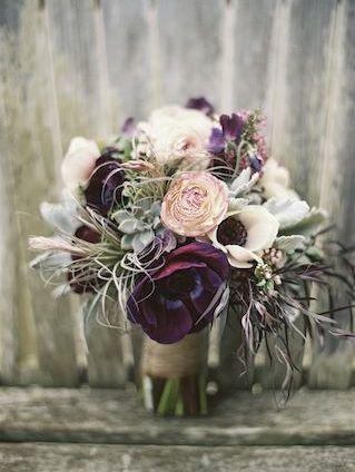 Purple anemone and succulent bridal bouquet