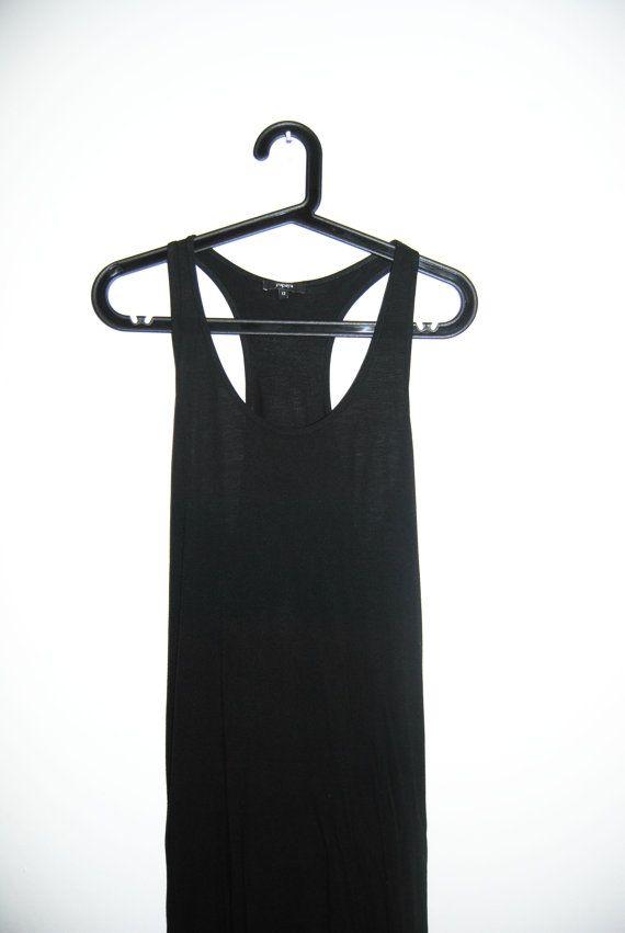 Black Maxi Dress / Goth, Vintage