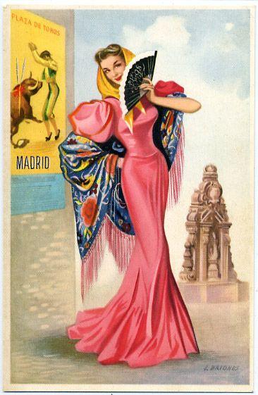 Spain: girl national dress - Madrid postcard