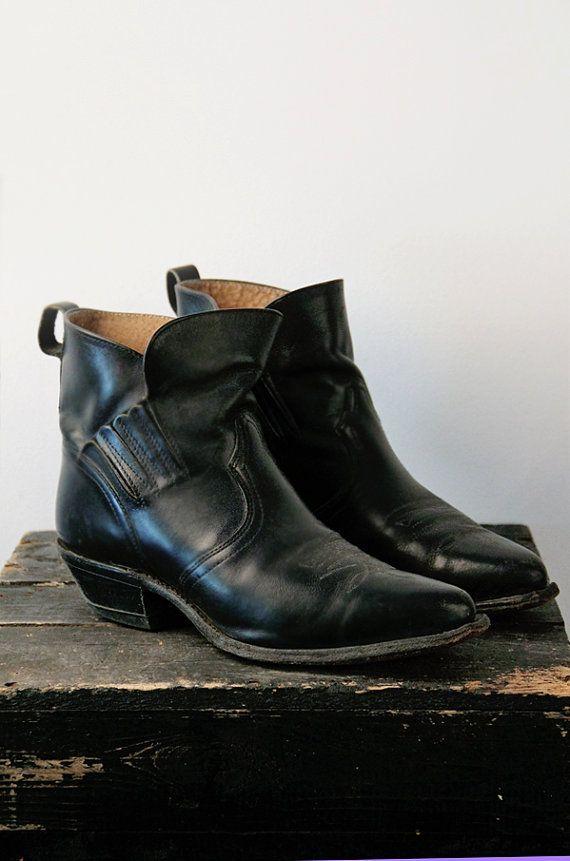 Vintage Leather Cowboy Boots Boulet Low Cut Ankle