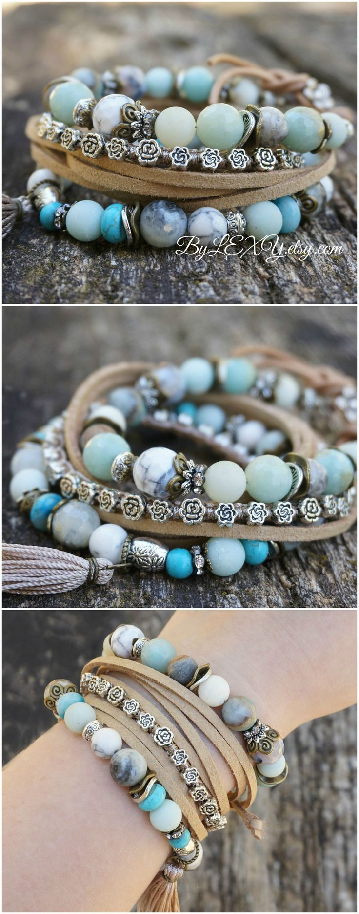 "Set of 3 Boho ""Low Tide"" Wrap Stretch Bracelets, Bohemian Hippie Gypsy Chic Nature Earthy Floral Stack Bracelets"