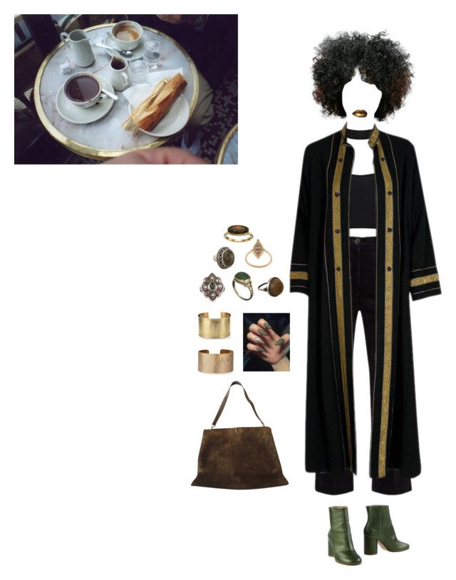 """""""70's in '17"""" by treasurewhatever ❤ liked on Polyvore featuring M.i.h Jeans, Thea Porter, Maison Margiela, Gucci, Alexis Bittar, Yves Saint Laurent, Elise Dray, Cole Haan, Blue Nile and Panacea"""