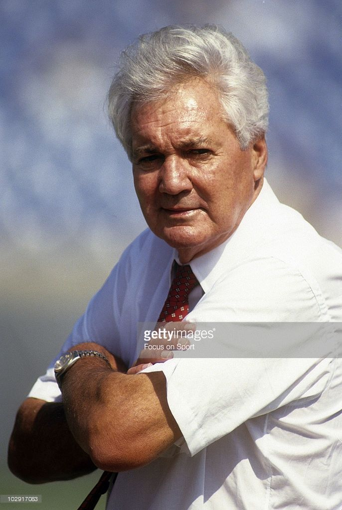 NFL play by play announcer Pat Summerall in this portrait on the field circa mid 1970's prior to the start of an NFL football game. Summerall has been a Color Commentator/Analyst/Play by Play announcer since 1964 for CBS, FOX, and ESPN.