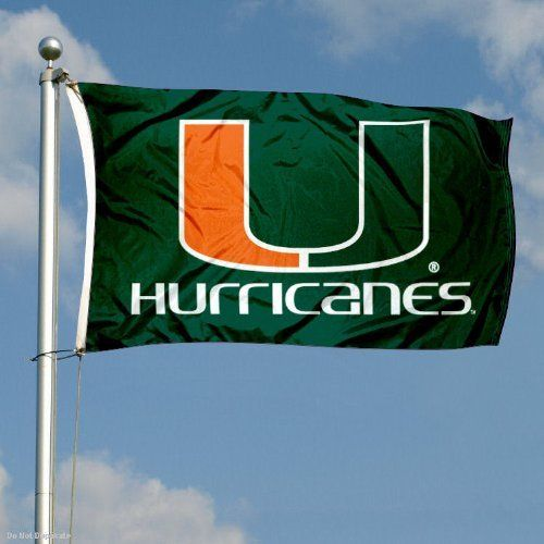 Miami Hurricanes Double-Sided 3x5 Flag by College Flags and Banners Co.. $49.95. Officially Licensed by University of Miami. 3'x5' in Size with Sturdy Metal Grommets and Quad-Stitched Flyends. Identical Flag as flown over the College Football Hall of Fame. Double-Sided and Printed Logos are Readable Correctly on Both Sides. 3-Ply Polyester Material with Sewn-In Liner between Sides. Our Miami Hurricanes Double-Sided 3x5 Flag is made of three-ply polyester and incl...