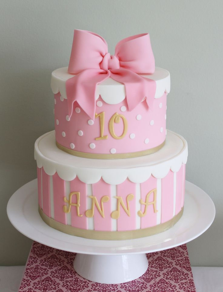 Birthday cake for my daughter turning 10.  Two tier cake with fondant candy stripes and suger bow topper. Part of my first dessert table.