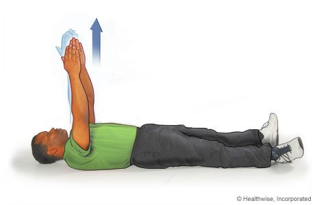 12.Lie flat on your back. This exercise is a very slight motion that starts with your arms raised (elbows straight, arms straight).  From this position, reach higher toward the sky or ceiling, keeping your elbows straight. All motion should be from your shoulder blade only.  Relax back to the starting position.  Repeat 8 to 12 times.