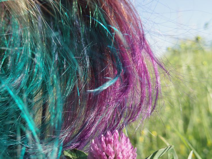purple and turquoise hair
