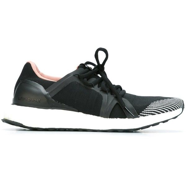 """adidas by stella mccartney """"Ultra Boost"""" Sneaker ($215) ❤ liked on Polyvore featuring shoes, sneakers, black, adidas footwear, kohl shoes, adidas, black sneakers and adidas trainers"""