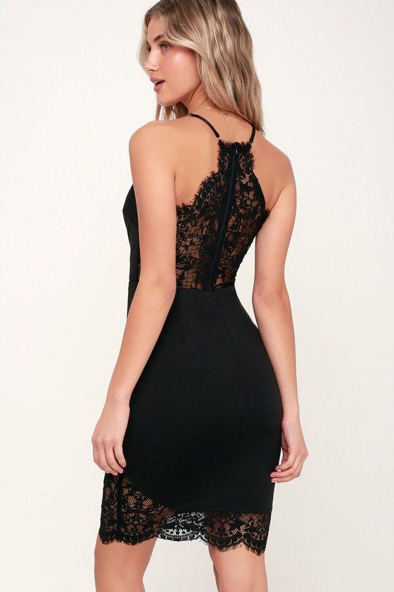 9a0019363d Romantic Gesture Black Lace Bodycon Midi Dress