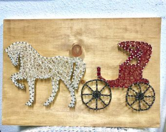 Horse and Carriage String Wall Art