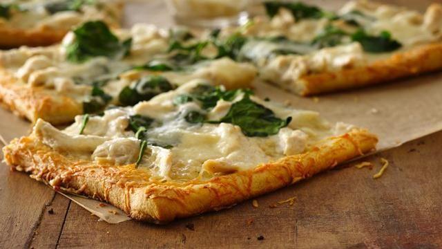 Parmesan Crusted Chicken Alfredo Pizza