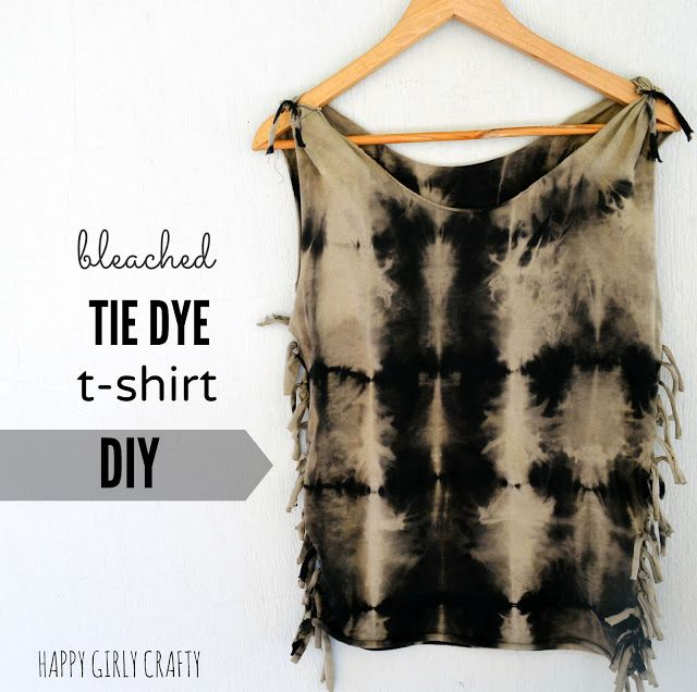 Bleach tie dye and fringed tank top DIY!