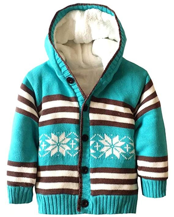 9f96b1b8fcb Infant Boys Girls Cotton Knitted Plush Fleece Lined Hooded Sweater Baby  Button Down Snowflake Sherpa Sweater Coat