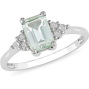 Absolutely Gorgeous- 4/5 Carat T.G.W. Emerald Cut Green Amethyst and Diamond Accent Ring in 10kt White Gold! $155