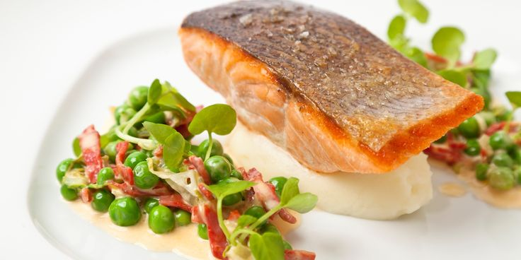 A fantastic salmon fillet recipe celebrating the flavours of summer, when English peas are at their peak. Chorizo and potatoes compliment the salmon and peas.