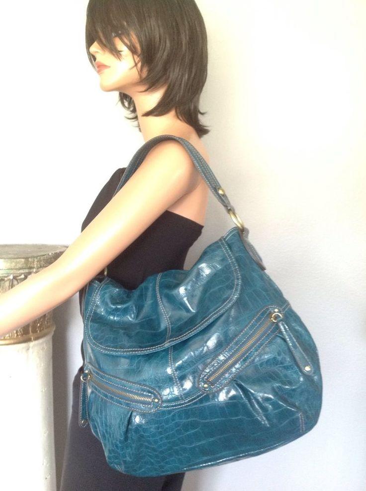 Elle Bag Purse Teal Croc Embossed Designer Fashion Stylish Multi Pocket | eBay