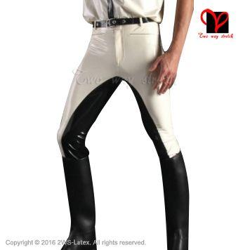 Sexy White Latex Pants with black trims Rubber Gummi Bottom leggings Trousers bottoms jeans plus size XXXL #Affiliate