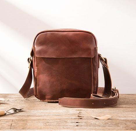 Black Small Leather Mens Shoulder Bags Messenger Bags for Men – iwalletsmen bd26e897fca85