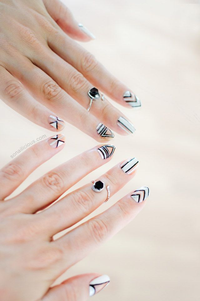 Silver Negative Space Nails: http://sonailicious.com/new-years-party-nails/