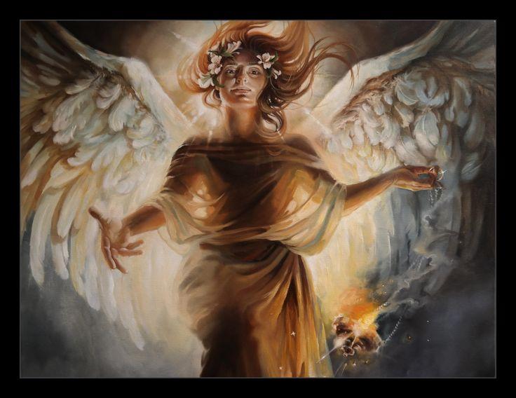 """GUARDIAN ANGEL"" - fragment oil on canvas 110x90cm, 2017 aut: Katarzyna Waszewska"