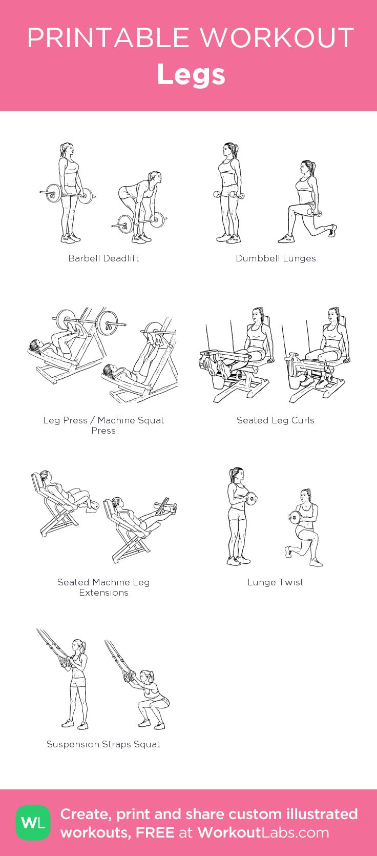 Legs:my visual workout created at WorkoutLabs.com • Click through to customize and download as a FREE PDF! #customworkout