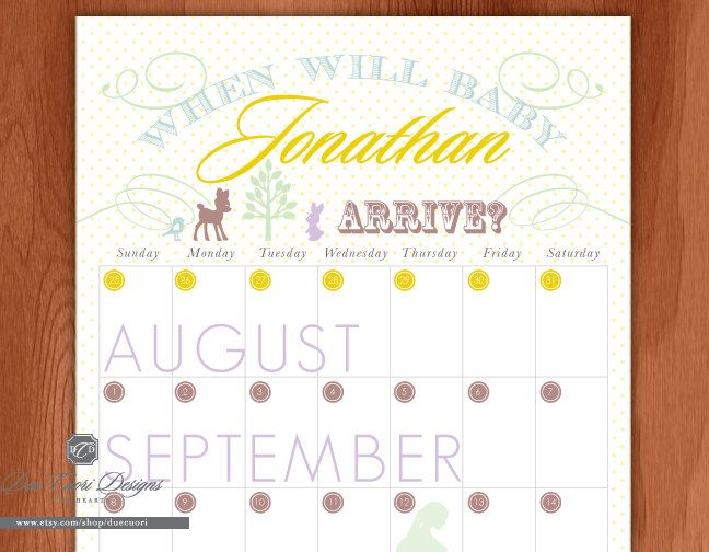 Calendar Design Baby : Baby due date calendar woodland animal design by duecuori