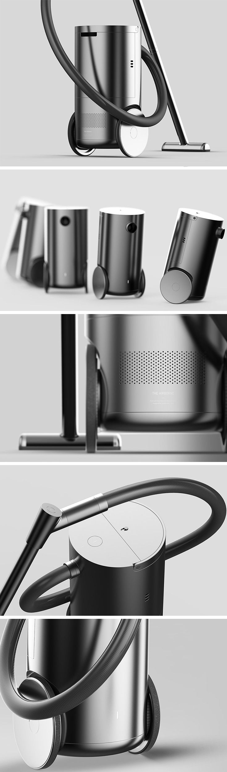 """Canister style vacuums offer unmatched suction power, but users often find themselves lugging the heavy body from area to area which can be exhausting and time consuming. The Airborne vacuum (named after its ability to """"float"""" around with the user) addresses this issue with a power-assist segway system that intuitively follows the user as they traverse from room to room and around furniture."""