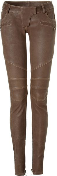 Balmain Taupe Low Rise Leather Pants in Brown (taupe)