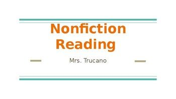 This Powerpoint Gives An Entire Overview And Introduction To Nonfiction Reading Topics Covered Are