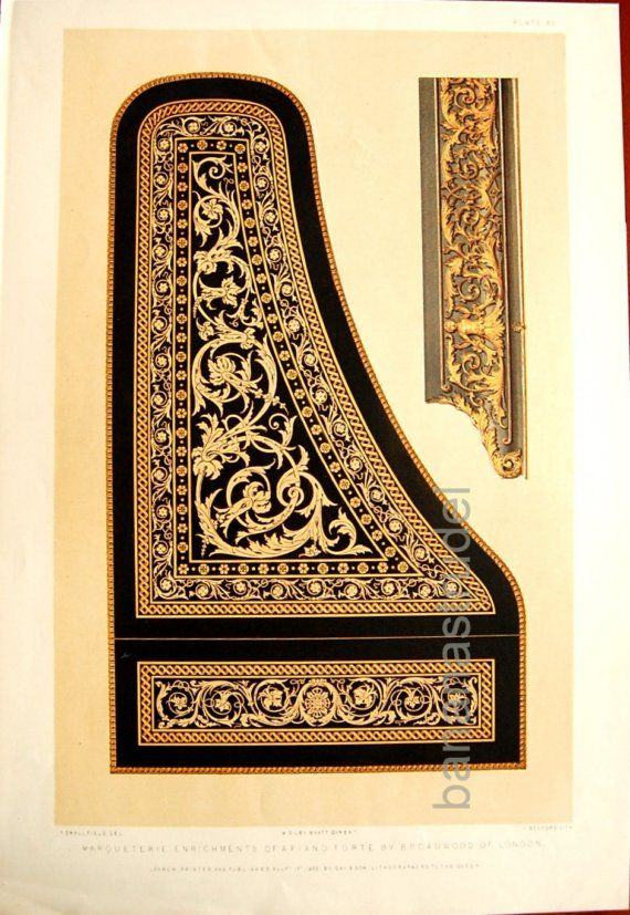 1852 Large Antique Chromolithograph of Marquetry on a Piano Forte