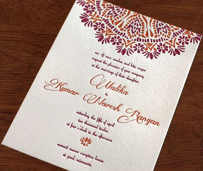 Malika indian letterpress wedding invitation by invitations