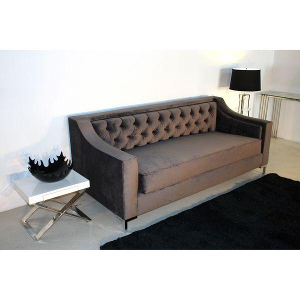 Decenni Custom Furniture Taglia Cosmic Grey Velvet Tufted 6 Foot Loveseat