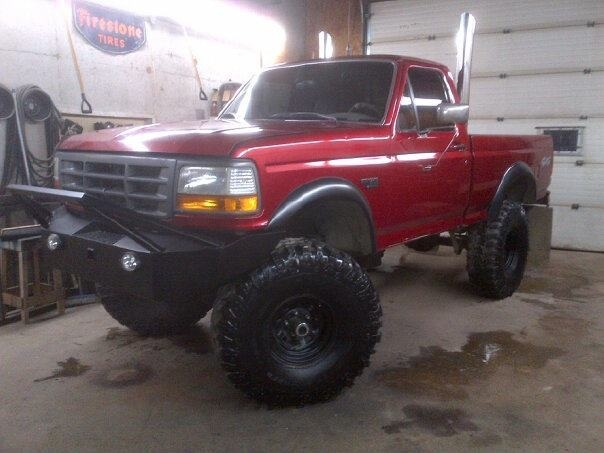 Blacked Out Suv >> 1996 f150, 40 inch iroks, home made bumper, 9 inch lift | Trucks | Pinterest | Home made, Home ...