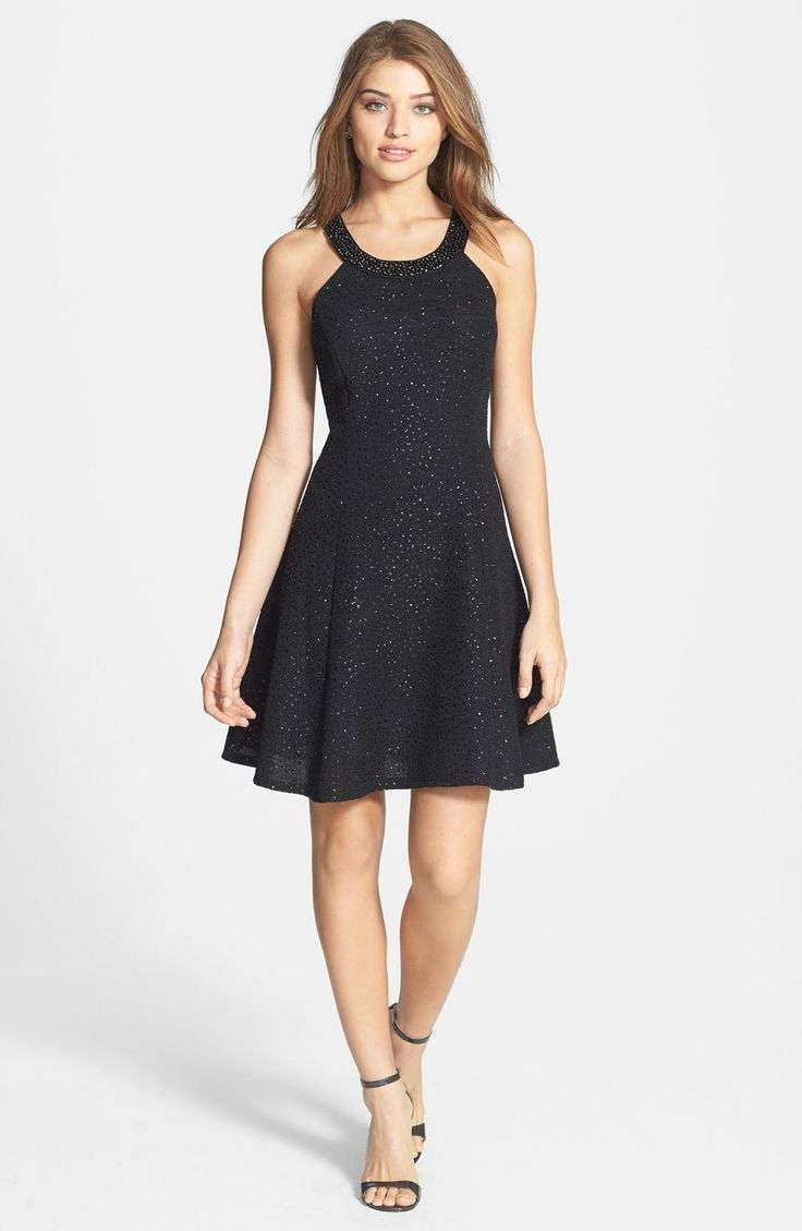 $85 T10P Glitter Bouclé A-Line Dress