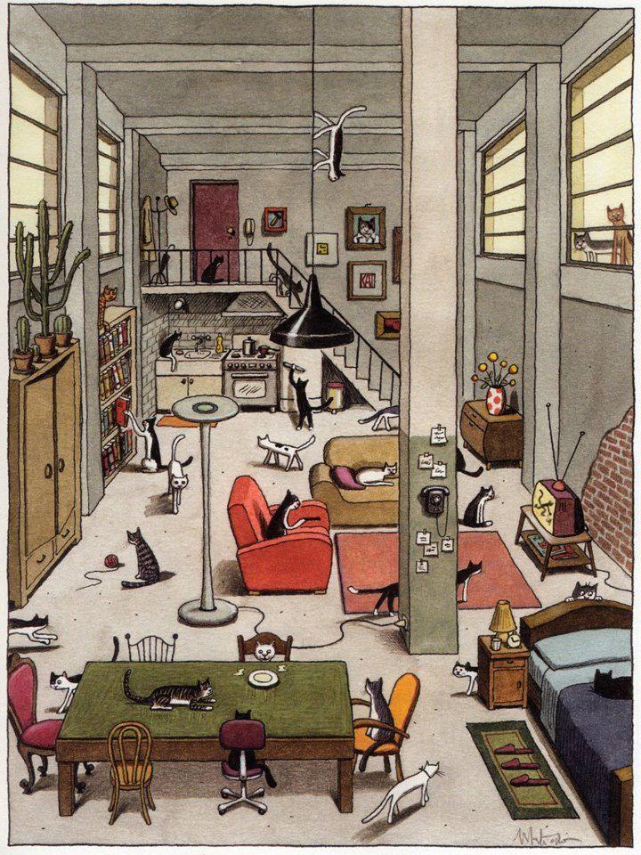 ¿Dónde están los gatos? Encima de, detrás de.., frente a..., al lado de... ¿Y qué están haciendo? (Ilustración dei italiano Franco Matticchio)