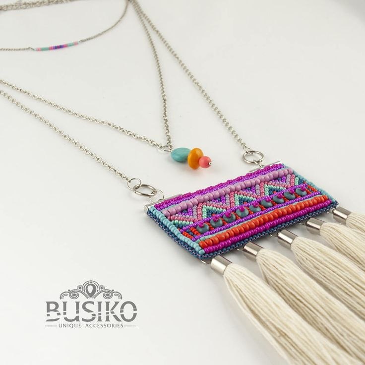 Set 3 necklaces hippie chic Embroidered beaded tassel necklace Boho simple choker Dainty stylish pendant Bohemian accessory Ethnic jewelry by BusikoUA on Etsy