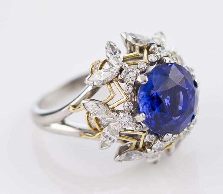 unusual tiffany jewels | TIFFANY SCHLUMBERGER 6 Bee Diamond Sapphire Gold Platinum Ring image 3