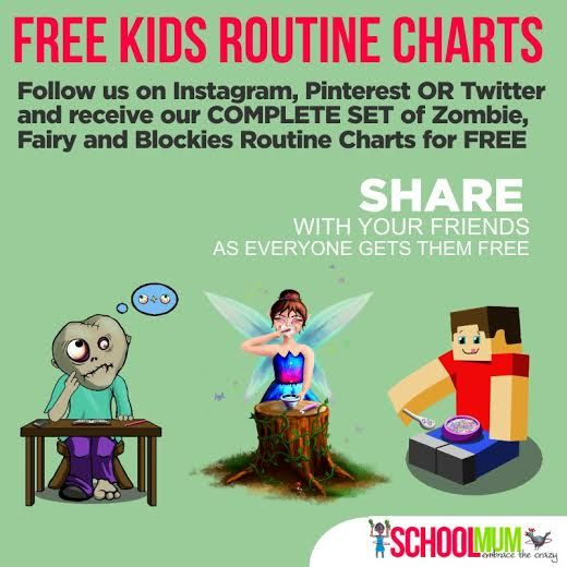 EVERYONE GETS FREE Zombie, Fairy and Blockie Routine Charts for their Kids just by following us on Pinterest ... click the image to get yours AND make sure you repin for your friends to get theirs too :) ... you can see our charts here http://schoolmum.net/product-category/routine-charts/